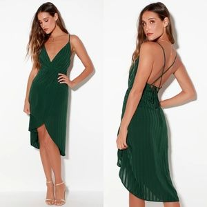 Lulu's Panache Backless Midi Dress in Forest Green